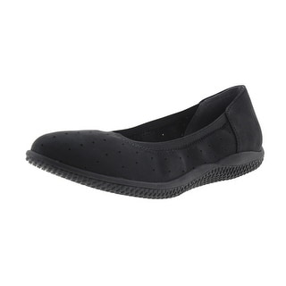 SoftWalk Womens Hampshire Nubuck Leather Perforated Ballet Flats