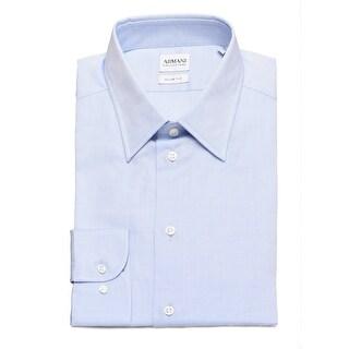 Armani Collezioni Men Slim Fit Cotton Dress Shirt Lilac - White