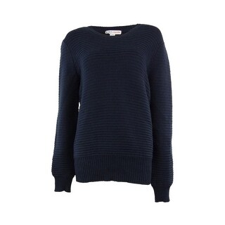 Made for Impulse Women's Classic Oversized Crewneck Solid Sweater - navy