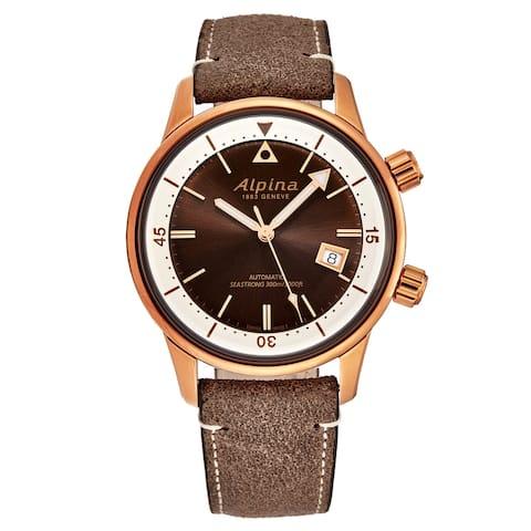 Alpina men's al-525brc4h4 'seastrong' diver heritage brown dial bronze pvd automatic watch set
