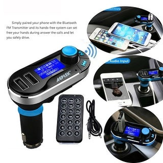 Agptek Newest Wireless Bluetooth Car Kit FM Transmitter with Hands-Free Function MP3 Player SD LCD Dual USB Charger Blue