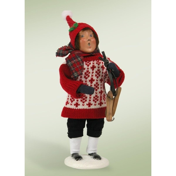 "10"" Warm Snow Day Boy Holding Black Skates Christmas Caroler Figure"