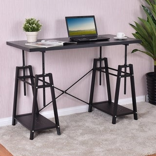 Costway Computer Desk Height Adjustable PC Laptop Study Writing Table Workstation Black