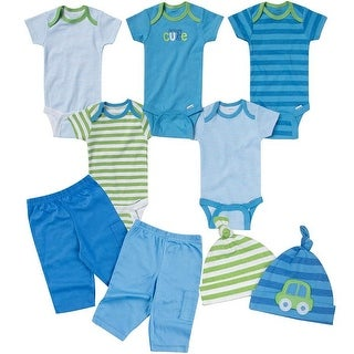 Gerber Baby-Boys Newborn Seriously Cute 9 Piece Bodysuits Pants and Caps Set, Blue, 0-3 Months - Blue