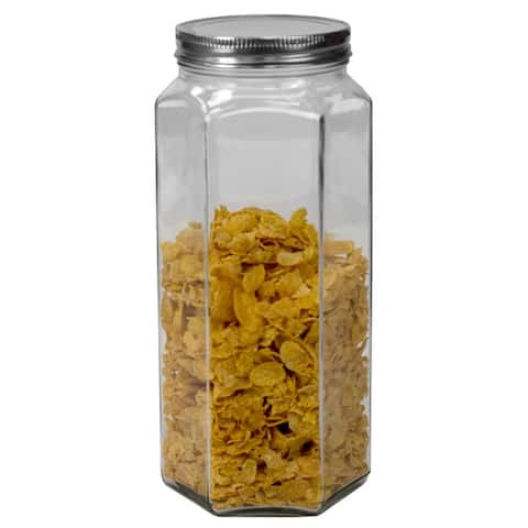61 oz. X-Large Hexagon Glass Canister, Clear - 61 oz
