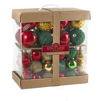 """Pack of 4 Red, Green and Gold Colored Shatterproof Christmas Ornament Kits 3.1"""""""