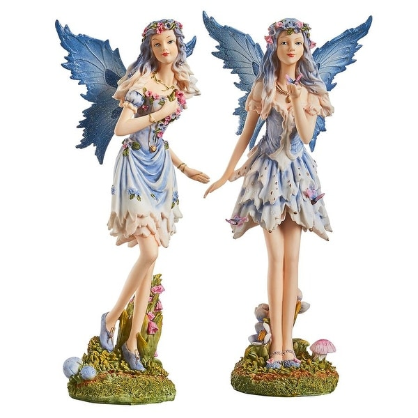 Design Toscano Poppy and Meadow the Windforest Fairies Statue Collection: Set of Two