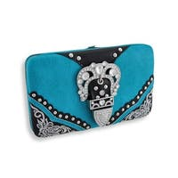 Flat Wallet with Rhinestone Buckle and Black Trim