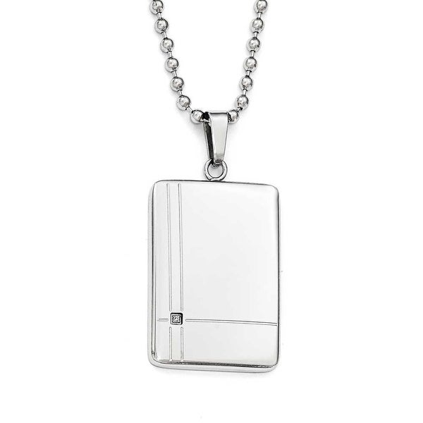 Chisel Stainless Steel Polished CZ Necklace - 22 in