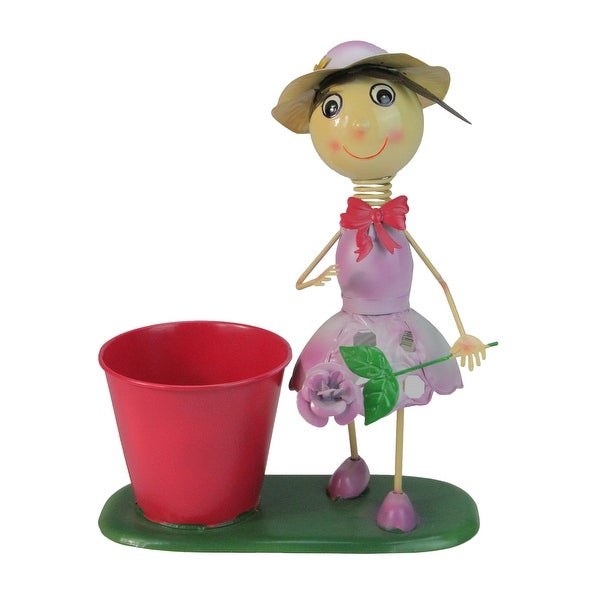 "13"" Red and Purple Girl with Flower Spring Outdoor Planter - N/A"