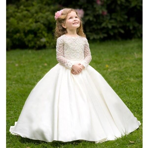 1eef56c7114a Shop Girls Ivory White Pearl Adorned Helena Flower Girl Dress 7-10 ...