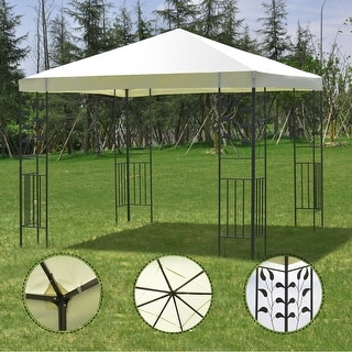 Costway Outdoor 10'x10' Square Gazebo Canopy Tent Steel Frame Shelter Awning Beige