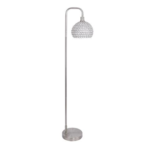 62 in. Metal Floor Lamp w/ Slim-line Arched Design and Crystal Bling Shade