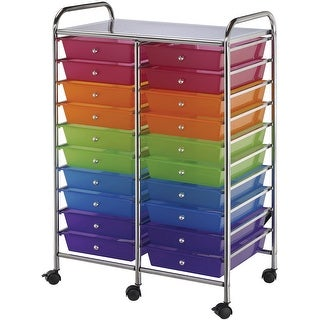 "Double Storage Cart W/20 Drawers-25.5""X38""X15.5"" Multicolor"