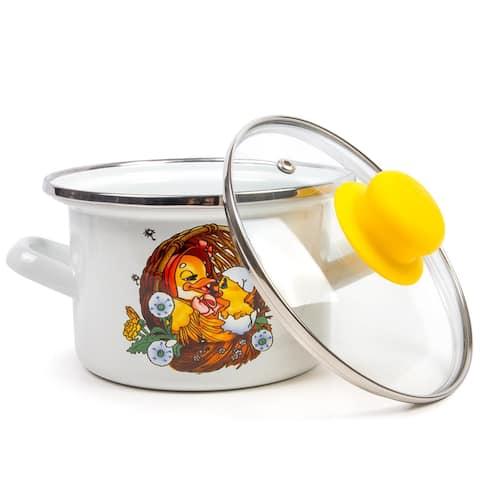 STP Goods Cute Ducklings Enamel on Steel 1.6-quart Pot w/Lid