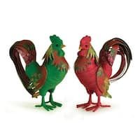 "11.5"" Set of 2 Country Heritage Floral Decorated Table Top Rooster Figures - Multi"