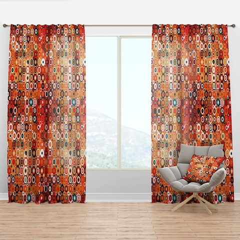 Designart 'Disco Style Pattern with Dots & Circles' Modern Curtain Panel
