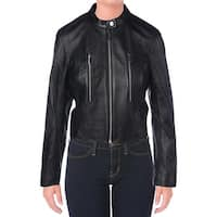 MICHAEL Michael Kors Womens Motorcycle Jacket Lambskin Leather Long Sleeves