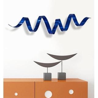Statements2000 3D Metal Wall Art Accent Sculpture Abstract Blue Decor by Jon Allen - Blue Wall Twist