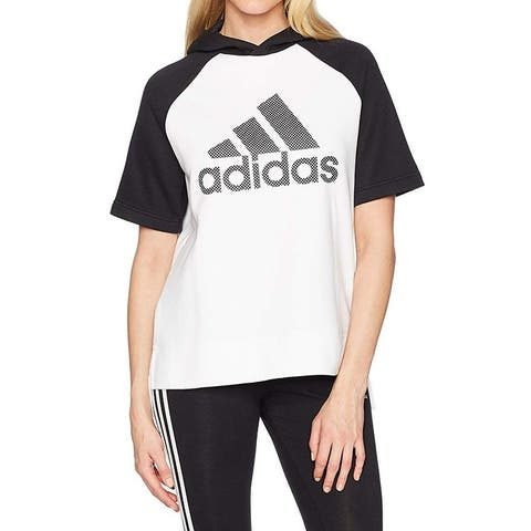 Adidas Womens White Black Size Large L Graphic Print High Low Hoodie