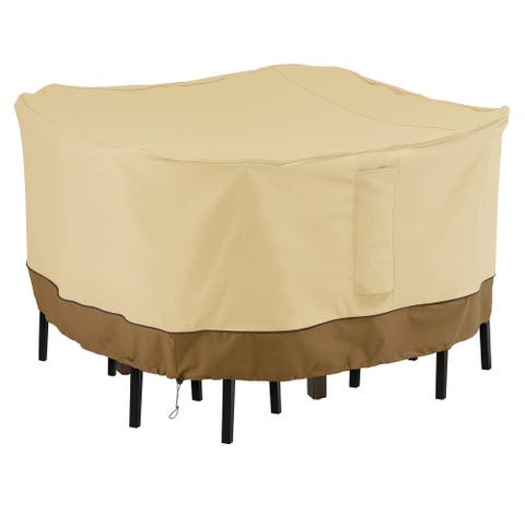 Classic Accessories Veranda Water-Resistant 66 Inch Square Patio Bar Table & Chair Set Cover