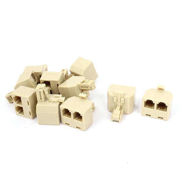 Unique Bargains RJ11 6P4C Male to Dual Female 2 Way ADSL Splitter Connector Beige 10 Pcs