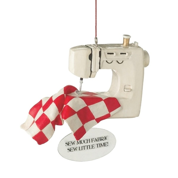 "3.5"" Red and White ""Sew Much Fabric, Sew Little Time!"" Christmas Ornament"