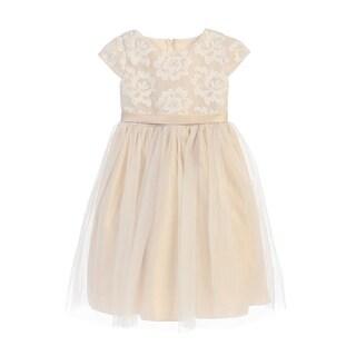 Sweet Kids Little Girls Champagne Floral Sponge Mesh Flower Girl Dress