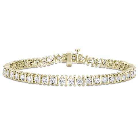 Miadora Yellow Plated Sterling Silver 4 1/2ct TGW Moissanite Tennis Bracelet