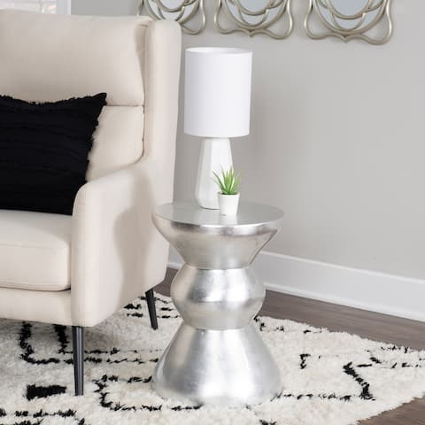 Perry Silver Leaf Bamboo Accent Table