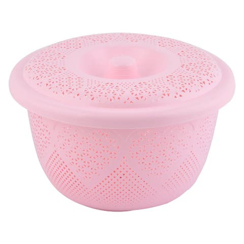 Home Plastic Fruit Vegetable Washing Colander Strainer Basket Container Pink