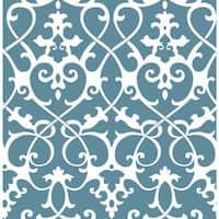Brewster 2625-21865 Axiom Blue Ironwork Wallpaper - blue ironwork - N/A
