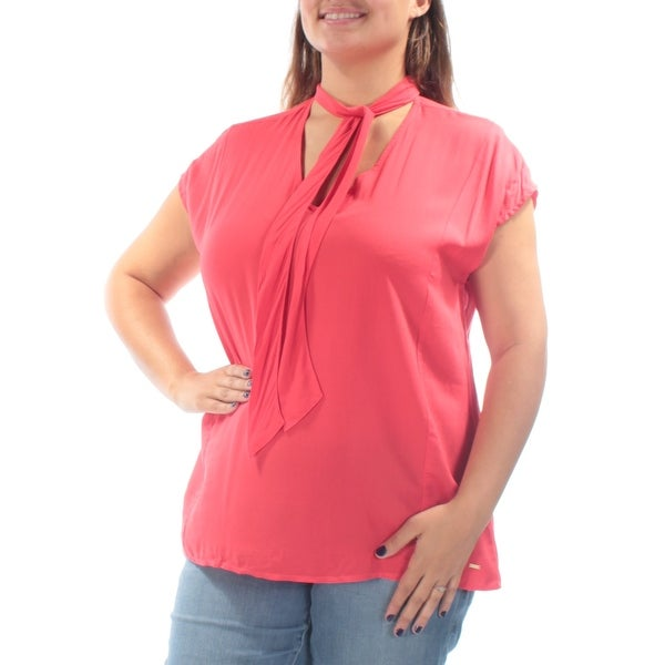 Shop Womens Red Cap Sleeve Tie Neck Casual Top Size XL - On Sale - Free  Shipping On Orders Over  45 - Overstock.com - 21353425 3eeb467a6549