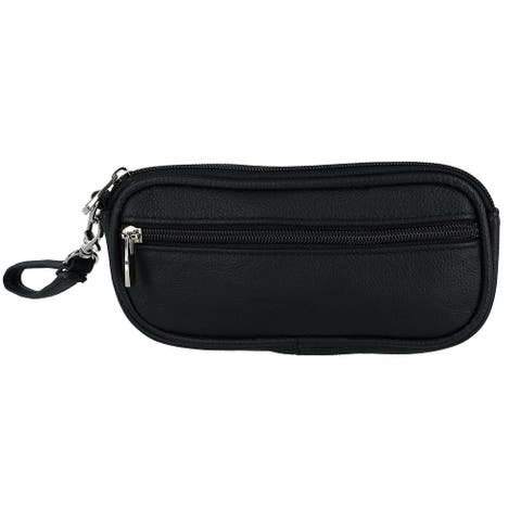 CTM® Leather Double Glasses Holder Case - one size