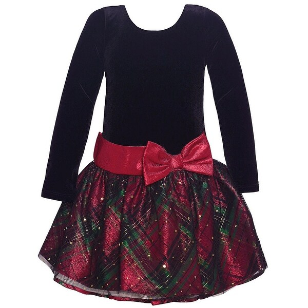c89f8d75cdb3 Shop Bonnie Jean Girls Black Red Plaid Drop Waist Bow Christmas Dress -  Free Shipping On Orders Over $45 - Overstock - 25542708