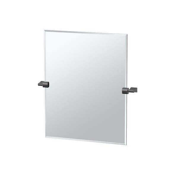 Shop Gatco 4 9sm Bleu 19 1 2 X 24 Beveled Frameless Rectangular Tilting Wall Mirror Matte Black Free Shipping Today Overstock 17775419 Matte Black