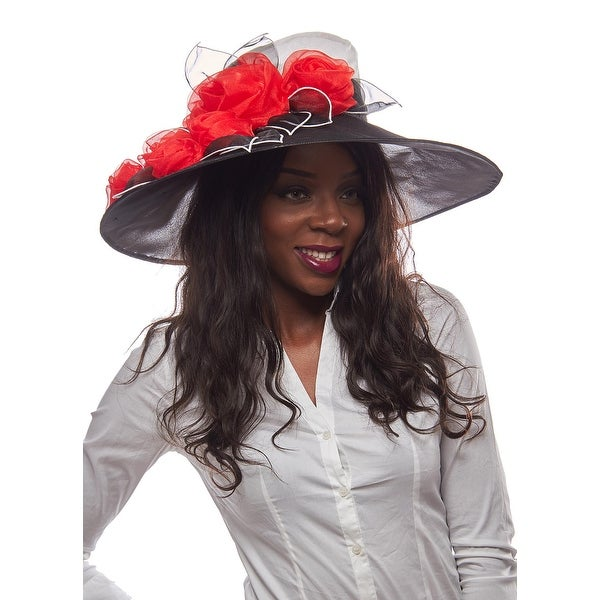 Sophia Two Tone Organza Derby Hat with Rosebuds