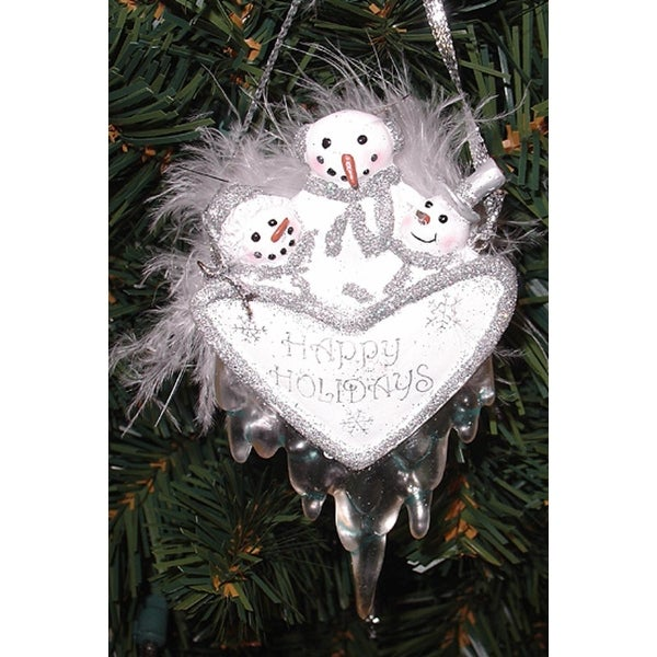 """4.5"""" Happy Holidays Snowman Christmas Ornament With Feathers and Dripping Icicles - WHITE"""