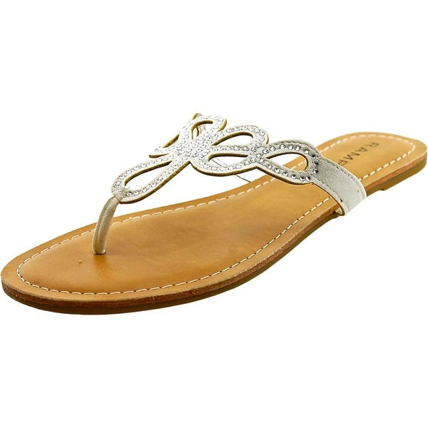 Rampage Tealsing Women  Open Toe Canvas Silver Thong Sandal