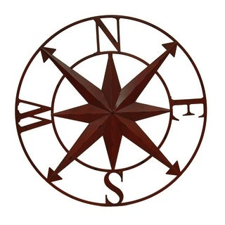 Distressed Metal Indoor/Outdoor Compass Rose Wall Sculpture 28 Inch - 28 X 28 X 1 inches