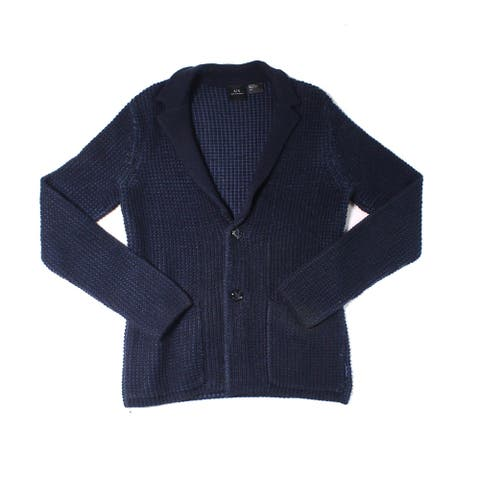 Armani Exchange Mens Sweater Blue Size Small S Marl Knit Cardigan