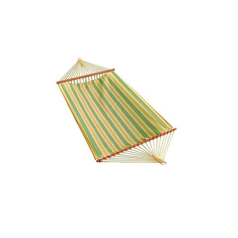 """80"""" x 52"""" Weather Resistant Blue and Yellow Striped 2-Point Double Hammock"""