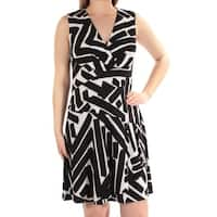 AMERICAN LIVING Womens Ivory Printed Sleeveless V Neck Above The Knee Fit + Flare Dress  Size: 8