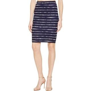 Aqua Womens Pencil Skirt Striped Comfort Waist