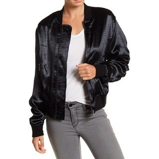 Ro & De NEW Black Womens Size XS Full-Zip Satin Ruched-Sleeve Bomber