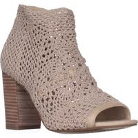 Jessica Simpson Rianne Peep Toe Sandals, Vanilla Cream Stretch Crochet