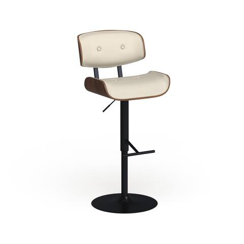 Carson Carrington Leksand Mid-Century Modern Adjustable Bar Stool with Walnut Wood Accents