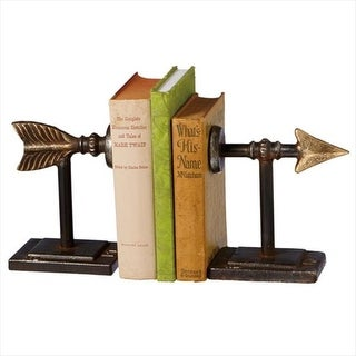 Set of 2 Distressed Black and Gold Iron Arrow Bookends 7""