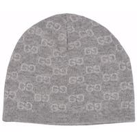 Gucci Men's 387577 100% Cashmere Grey GG Guccissima Beanie Ski Winter Hat - One size