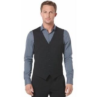 Perry Ellis Vest Black Medium M Travel Luxe Wrinkle Resistant Button Front
